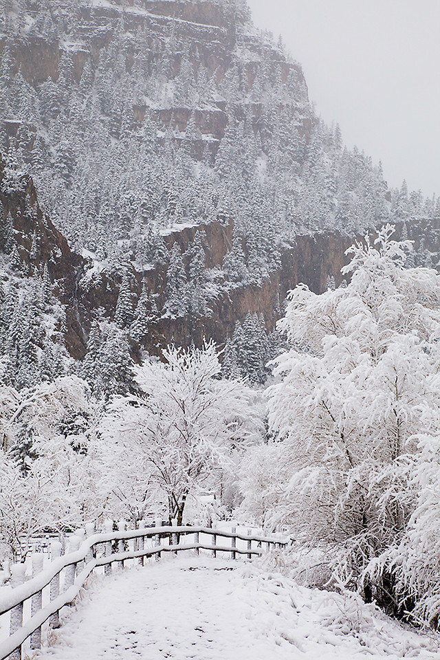 (SJ-11013)  Snowy day in Ouray; San Juan Mountains, Colorado.