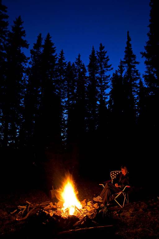 Campfire and Spruce at night