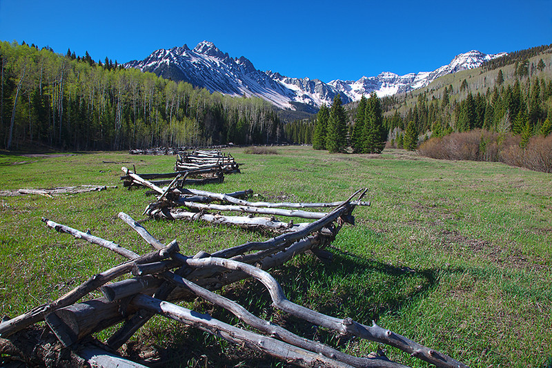 (SN-10002)  Rail fence beneath Mount Sneffels; San Juan Mtns, Colorado