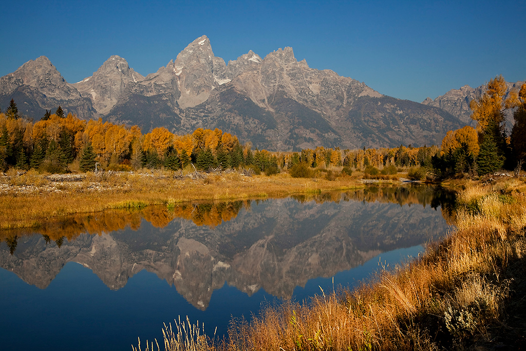 (GT-09074-75)  Autumn morning at Schwabacher's Landing - Grand Teton Nat'l Park, Wyoming.