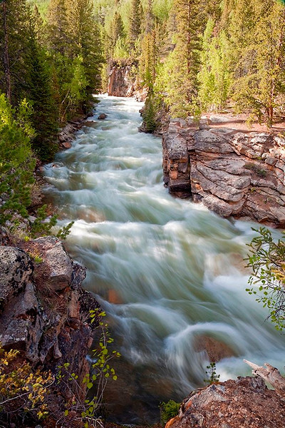 (SA-10102)  Swift waters of Lake Creek - Sawatch Range, Colorado.