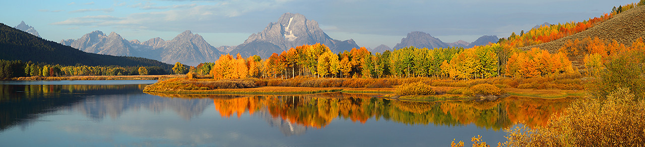 Teton Panorama 1 - Oxbow Bend in Grand Teton Nat'l Park, Wyoming.