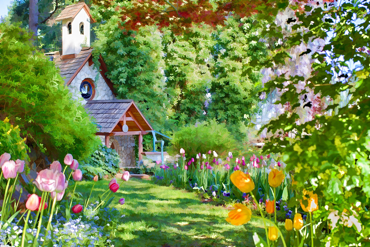 A watercolor painting of the Chapel at the Crystal Hermitage