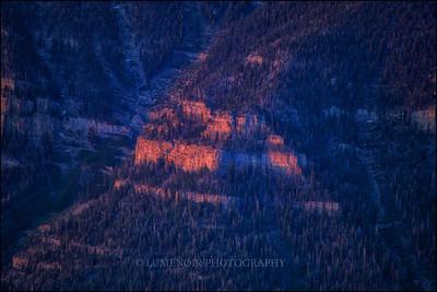 Sunrise reflected on the limestone walls. Mt. Charleston Wilderness Area, Nevada.
