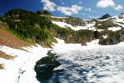 Second alpine lake near the top...I was amazed at how much snow/ice there still was