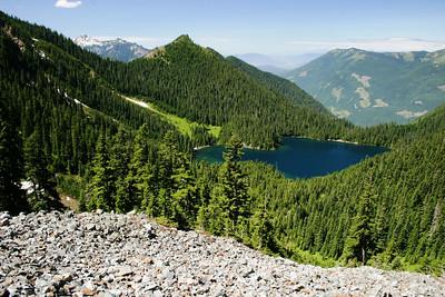 Scree slope and Pierce lake