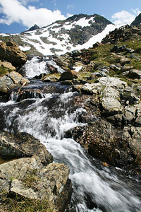 Waterfalls and view of the summit