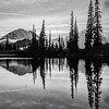 713  G Rainier and Tipsoo Lake Sunset Sharp BW V