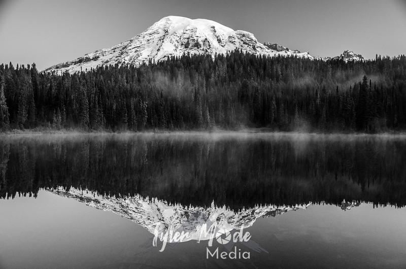 15  G Rainier and Reflection Lakes BW