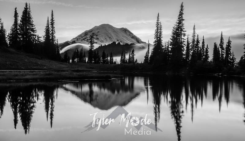 730  G Rainier and Tipsoo Lake Sunset Sharp BW