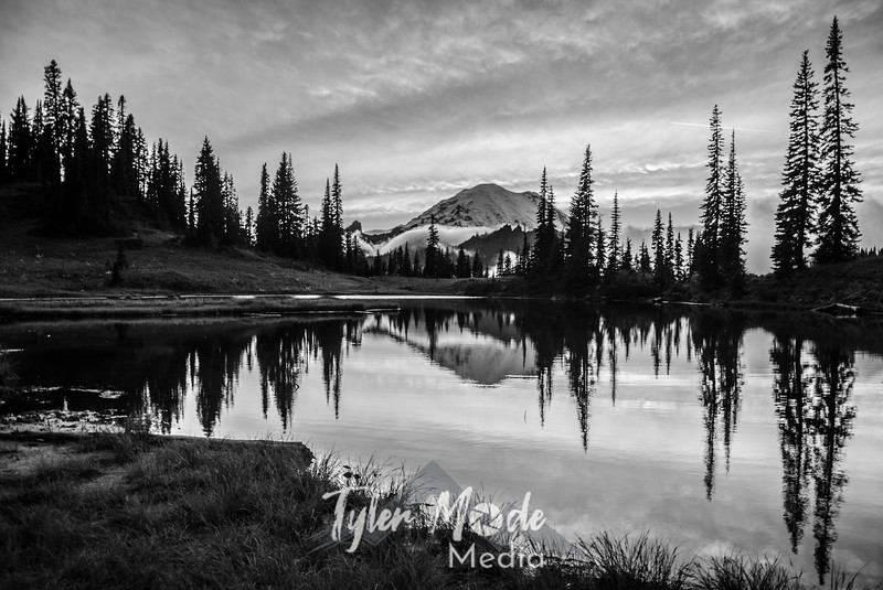 702  G Rainier and Tipsoo Lake Sunset Sharp BW
