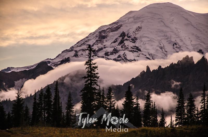 691  G Rainier and Clouds Sunset Sharp