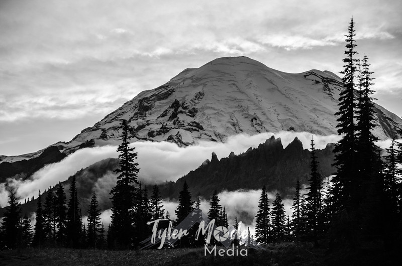 682  G Rainier and Clouds Sharp BW