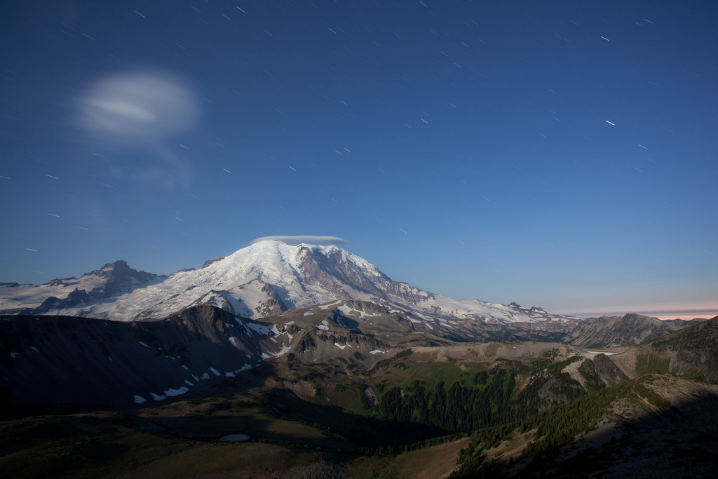 Rainier in the first rays of moon light