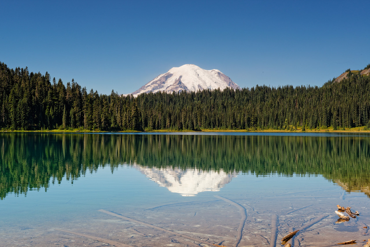 Mount Rainier reflection on Dewey Lake