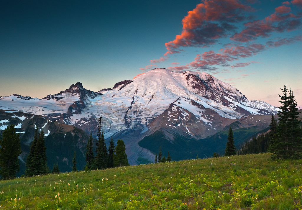 Sunrise at Mount Rainier from Sunrise meadow.
