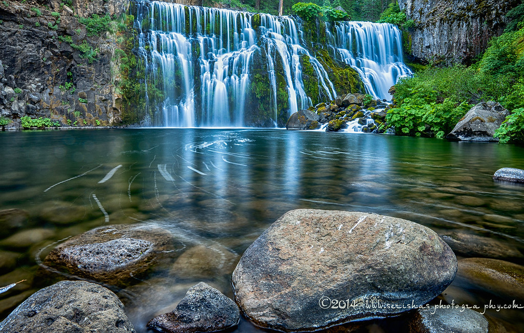 "McCloud Falls  The McCloud River is a river that flows east of and parallel to the Sacramento River, 77.1 miles (124.1 km) long, in northern California in the United States. It drains a scenic mountainous area of the Cascade Range north of Redding and is a tributary of the Sacramento River.  The river was originally known as the ""McLeod River"", after the Hudson's Bay Company hunter and trapper Alexander Roderick McLeod who explored it during the winter of 1829-1830. By the 1860s, the spelling ""McCloud"" was widely used, likely because that was the conventional American spelling of the Scottish name, and perhaps in part to honor California pioneer Ross McCloud, who settled here in 1855.  It rises from several spring-fed streams in the Cascades approximately 10 miles (16 km) southeast of Mount Shasta in Siskiyou County. It flows initially west, passing south of Mt. Shasta and receiving streams that drain the southern slope of the peak. From Mt. Shasta it flows generally southwest through Lake McCloud and through the Shasta-Trinity National Forest. It joins Shasta Lake, formed by the Shasta Dam, approximately 15 miles (24 km) north of Redding, with the lower 10 miles (16 km) of the river forming the middle arm of the lake. The McCloud arm joins in at the Pit River Bridge on Interstate 5, 5 miles (8.0 km) north of the city of Shasta Lake.  The river is well known for a series of waterfalls which tumble over basaltic lava flows, known collectively as the Falls of the McCloud River."
