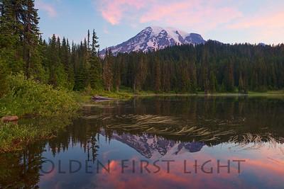 Mt Rainier Sunrise from Reflection Lake, Mt Rainier National Park