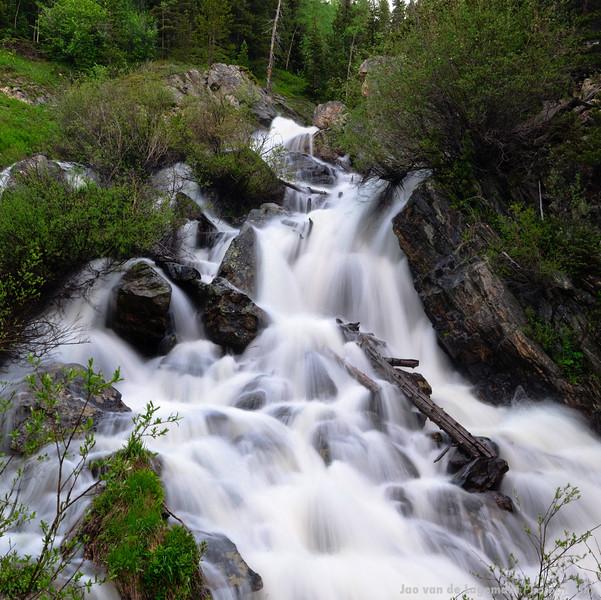 Waterfall in Arapahoe creek square crop