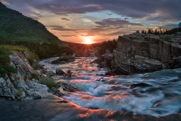 """Wild Light at Glacier Falls"" - Montana"