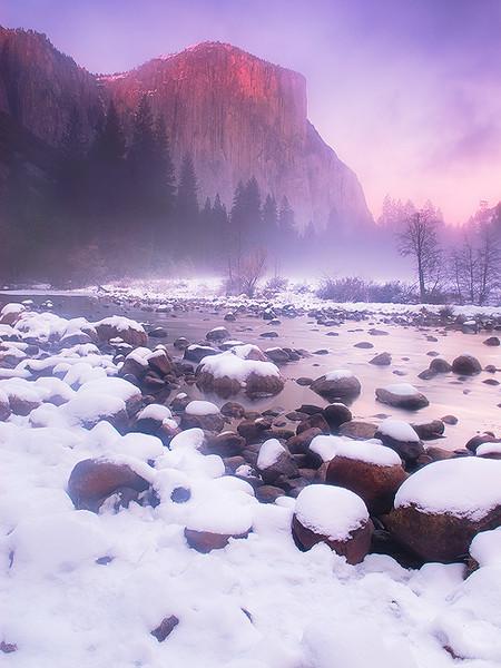 Sunset over El Captan,<br /> Yosemite National Park, CA