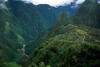 Machu Pichu sits high above a river gorge