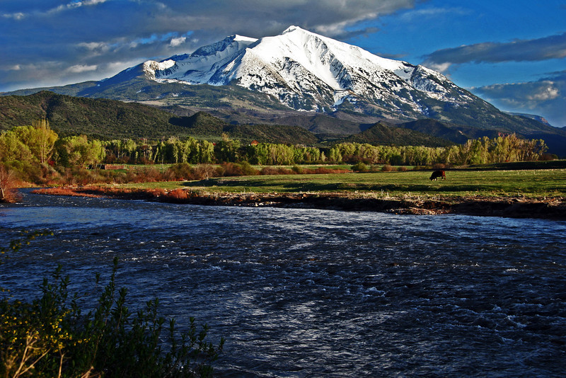 Spring snow on Sopris and the Crystal River