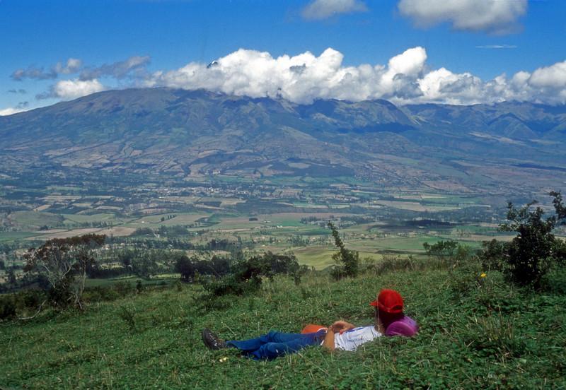 takin a break while on a day hike above Otovalo Ecuador