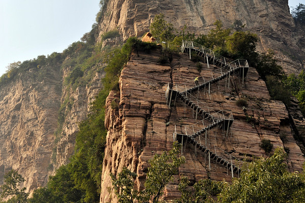 Mountain village in ShanXi and HeNan province, Road on edge