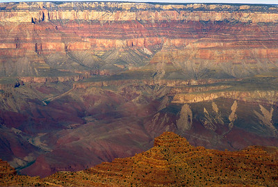 Just after sunrise at the Grand Canyon, showing the ancient layers of rock in their saturated glory.