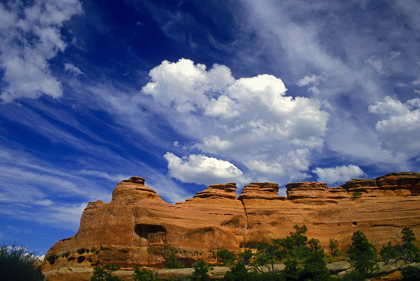 Beautiful skies over rock formations in Colorado National Monument