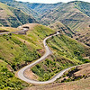 Here is a recent photo, taken June 13, 2012, of Rattlesnake Grade that is part of an extremely twisted road that winds down almost 2,000 feet from its start to the Grande Ronde River.  An ideal setting for the latest sports car ad sites..