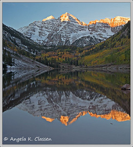 Maroon Bells reflected in Maroon Lake (first light), near Aspen, CO