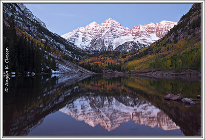 Maroon Bells reflected in Maroon Lake (pre-sunrise), near Aspen, CO