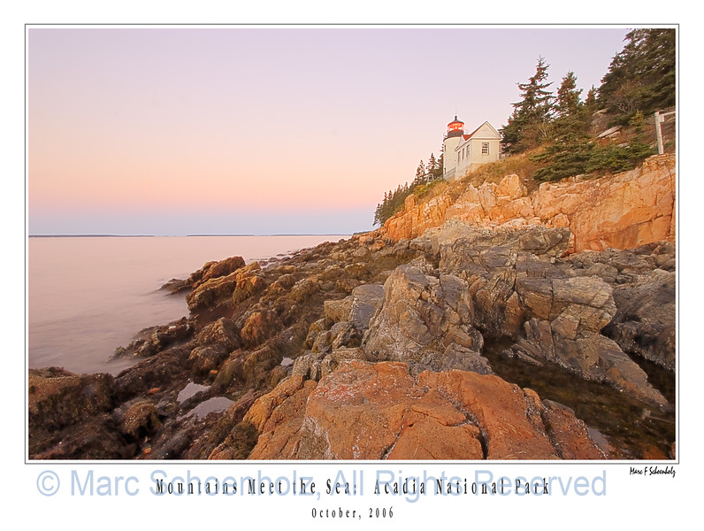 Bass Harbor Lighthouse Sunrise, Photographed at: Acadia NP, Bass Harbor, Maine. October, 2006  ©2007 Marc Schoenholz