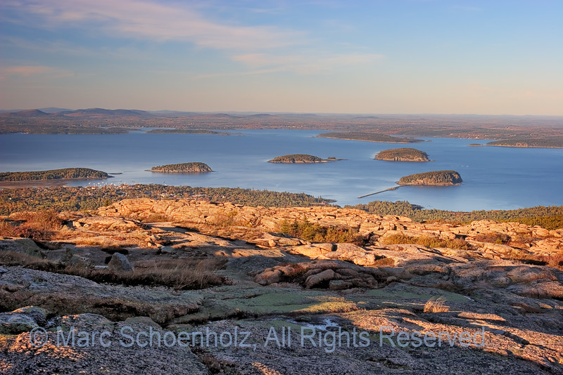 Cadillac Mountain Mountains and water, Photographed at: Acadia NP, Bar Harbor, Maine. October, 2006  ©2007 Marc Schoenholz  Exposure and Camera Info Camera:   Lens:   Shutter Speed: ,  Aperture:  ISO Setting: