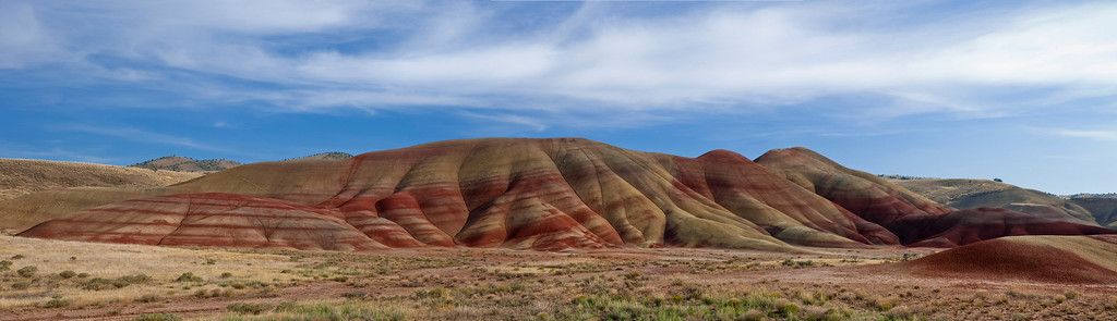 Panorama of the painted hills in John Day NM, Oregon. Best viewed at X2. A print would have a much higher resolution.