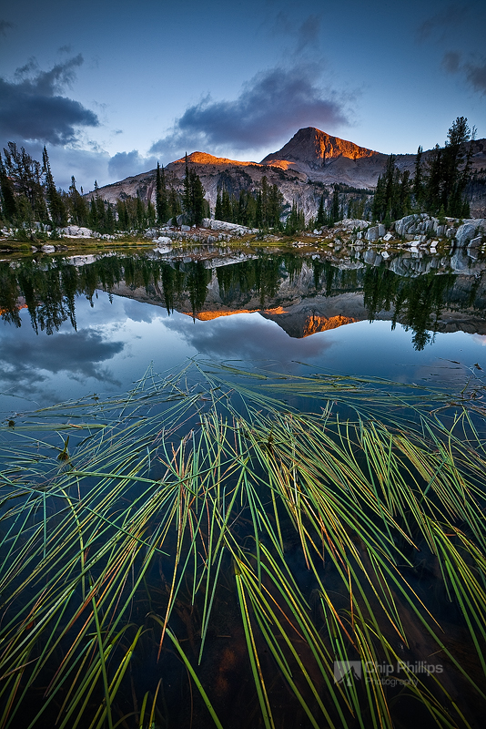 """Sunshine Lake Sunset""  Eagle Cap Mountain at sunset over Sunshine Lake. Eagle Cap Wilderness, Eastern Oregon"