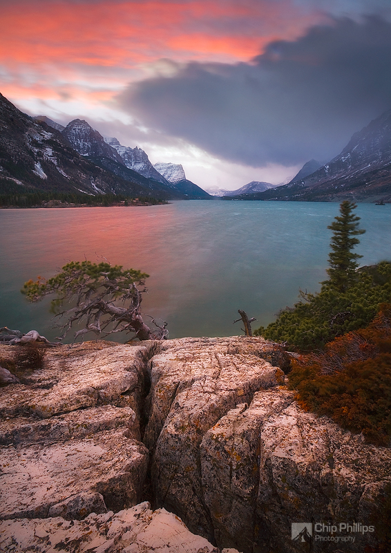 """Stormy Saint Mary Lake Sunset""