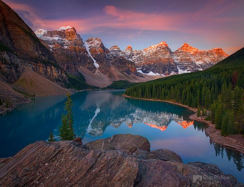 """Moraine Lake Sunrise""  A beautiful morning over Moraine Lake, Banff National Park, Alberta."