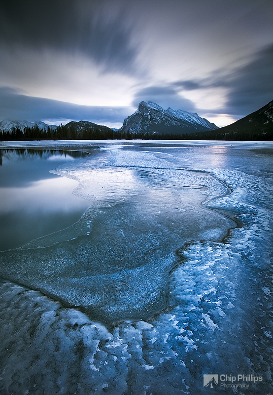 """""""Winter Morning, Vermillion Lakes""""  Cold conditions and dramatic skies over the Vermillion Lakes in winter. Banff National Park, Alberta"""