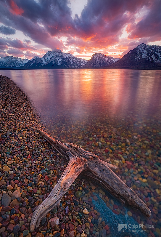 """""""Clearing Storm Jackson Lake Wyoming""""  A brilliant sunset after storm clouds clear in late fall. Jackson Lake, Grand Teton National Park, Wyoming"""