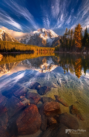 """""""Leigh Lake Reflections""""  Passing clouds and reflections of Mount Moran, seen over Leigh Lake in the backcountry of Grand Teton National Park"""