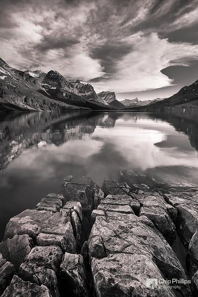 """Saint Mary Lake Reflections""  An unusually calm evening on Saint Mary Lake. Glacier National Park, Montana"