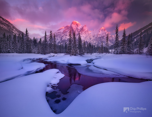 """""""Mount Kidd Reflecting Pools Winter-Horizontal""""  This area has completely changed since the floods of 2013. I am really glad I had a chance to shoot it is winter when I did!"""