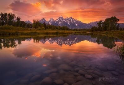 """Schwabacher Sunset""  Sunset over the Snake River at Schwabacher Landing in Grand Teton National Park."