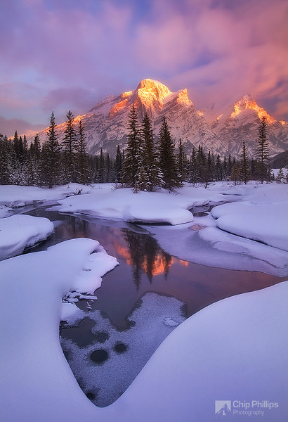 """Mount Kidd Reflecting Pools Winter""  A winter sunrise in Kananaskis Country, Alberta."