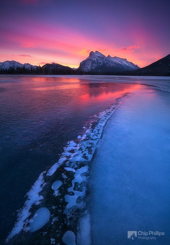 """Mount Rundle Sunrise""  Rundle seen over frozen Vermillion Lake, Banff, Alberta."