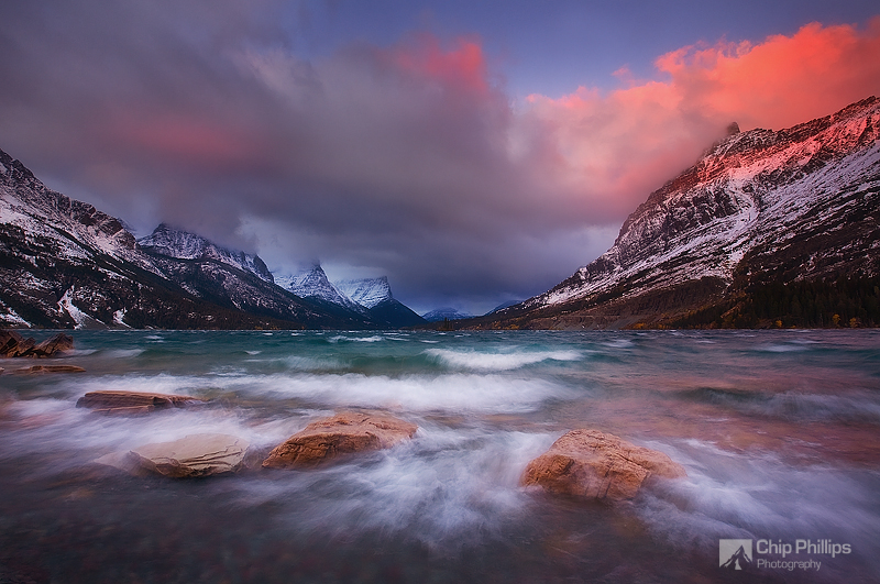 """""""Saint Mary Lake Storm""""  Heavy winds at sunrise from a late fall storm in Glacier National park."""