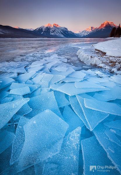 """""""Lake McDonald Ice""""  Ice sheets along the shore of Lake McDonald at sunset. Glacier National Park, Montana"""